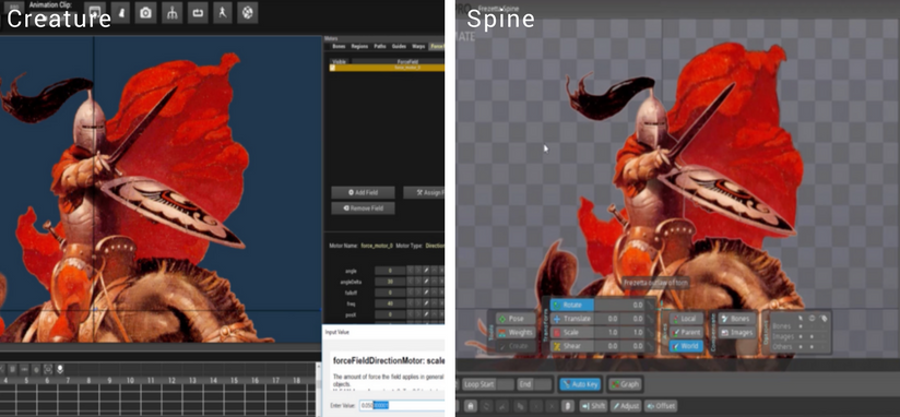 2D Game Animation: Creature 2D v s  Spine 2D